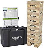 Giant Tumbling Timber Toy - Jumbo Wooden Blocks Floor Game for Kids and Adults, 56 Pieces, Premium Pine Wood, Carry Bag, Life Size - Grows to Over 5-feet While Playing