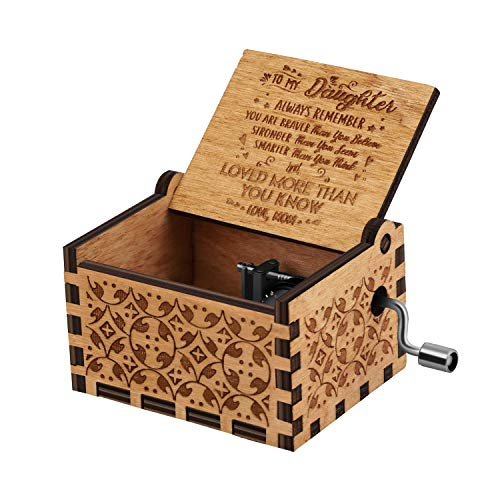 You are My Sunshine Wood Music Boxes,Laser Engraved Vintage Wooden Sunshine Musical Box Gifts for Birthday/Christmas/Valentine's Day (Wood-Mom to Daughter)