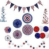 KADBLE 4. Juli Dekorationen für Zuhause, 4. Juli amerikanische Flagge, Partyzubehör, Papierfächer, Papierblumen-Kugeln, Sternschlangen, hängende Wirbel, USA-Flagge, Wimpel, 22 Stück
