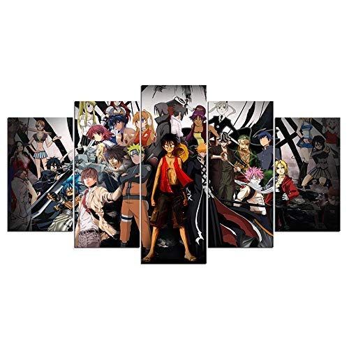 klmkjm Dionysios Print Framed Canvas Anime Characters 5 Pieces Wall Art Decor Ready to Hang on The Wall with Frame - Size 1