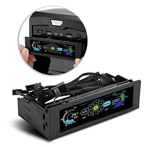Jadpes Controller Ventola Computer, Fan Governor per PC, velocità a 5 ventole Controller sensore di Temperatura CPU unità di Raffreddamento del Computer Pannello LCD Anteriore HU