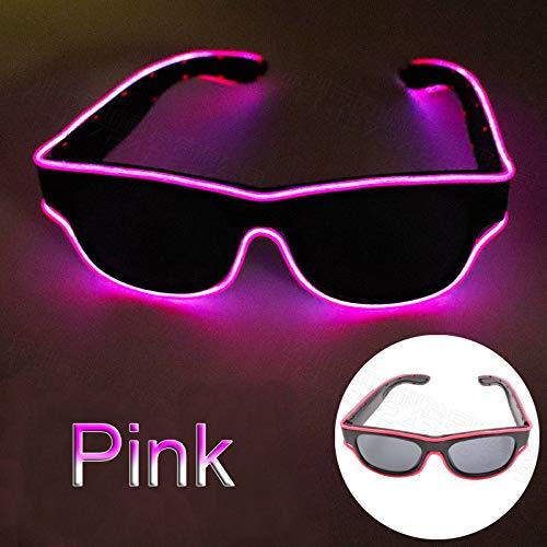 Glaray Kabellos LED Leuchtend Brille USB Wiederaufladbar LED Light Up Brillen Rave Party Leuchtende Sonnenbrille (Rosa)