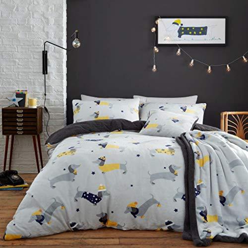 CT Luxury Teddy Fleece Sausage Dog Pattern Grey Duvet Cover Sets Super Soft Warm Cosy Reversible Bedding Sets (Double Duvet Set)