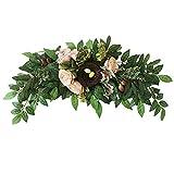 æ— Peonía artificial de 30 pulgadas con peonías y hojas falsas, guapo floral artificial rústico para decoración de puerta delantera, pared de boda