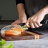 PAUDIN Damast Santokumesser 17cm - Profi Küchenmesser Messer aus Damaststahl mit Micarta-Griff - 6