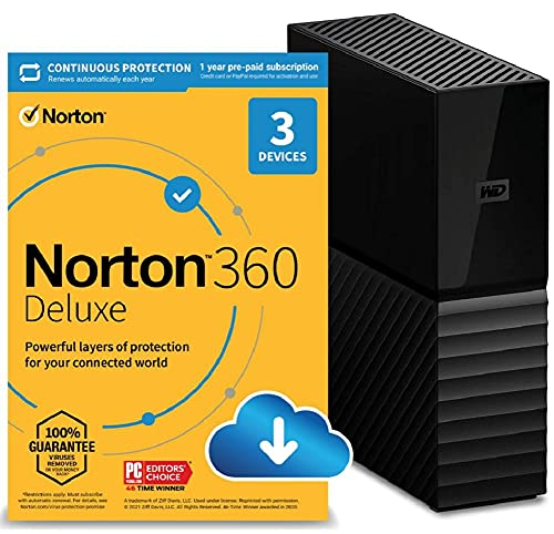 WD 6TB My Book Desktop External Hard Drive, USB 3.0 and Norton 360 Deluxe 2021 – Antivirus software for 3 Devices with Auto Renewal is $154.98 (52% off)
