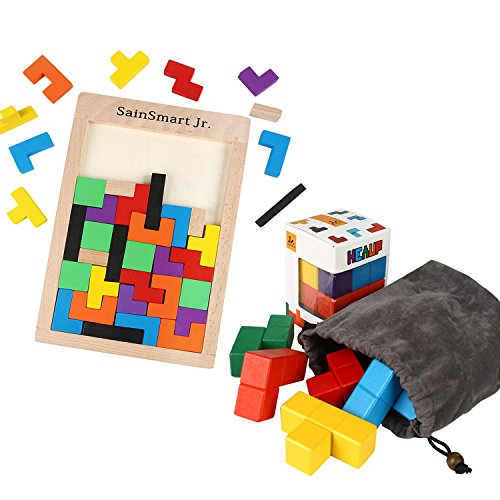 SainSmart Jr Wooden Puzzles Set for Kids 40 Pcs Wooden Tetris Puzzle and Colorful Soma Cube Beech Wood