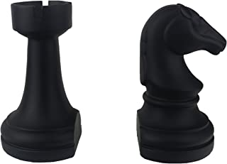 JHP Chess Piece Bookends, 6.7Inch Tall Classic Decorative Resin Book Shelf Organizers with Knight and Rook Book Stopper (C...