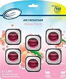 Air Jungles Honey Peach Scent Car Air Freshener Clip, 6 Car Freshener Vent Clips, 4ml Each, Long Lasting Air Freshener for Car, Up to 180 Days Car Refresher Odor Eliminator