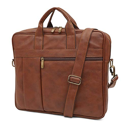 Handmade_World Brown Leather Messenger Bag for Men 18 inch Big Women Shoulder Cross Body Brown Laptop Computer Briefcase Bag - Best Vintage Look