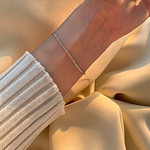 Shangwang - Pulsera de plata de ley 925 brillante con cadena ancha para mujer, elegante, simple italiana, cadena para damas o fiestas