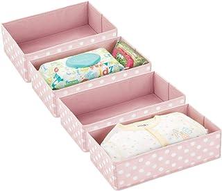 mDesign Soft Fabric Dresser Drawer and Closet Storage Organizer for Child/Kids Room or Nursery - Open Rectangular Compartm...
