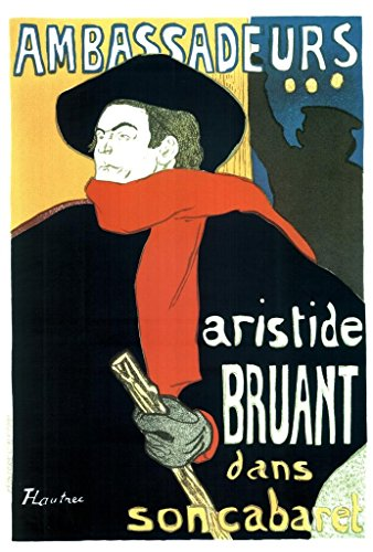 Henri de Toulouse Lautrec Aristide Bruant in His Cabaret at The Ambassadeurs Vintage Cool Wall Decor Art Print Poster 24x36