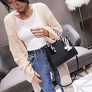 Fashion Single-Shoulder Bags Leisure Fashion PU Leather Slant Shoulder Bag Handbag(Black) (Color : Black)