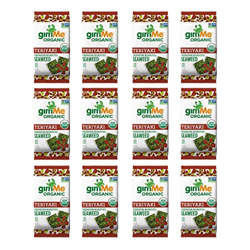 gimMe Organic Roasted Seaweed - Teriyaki - 12 Count - Keto, Vegan, Gluten Free - Great Source of Iodine and Omega 3's - Healthy On-The-Go Snack for Kids & Adults