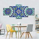 QWASD Cuadro Lienzo Pintura 5 Piezas Impresiones En Lienzo Pared Pintura Impresión Arte para Hogar Salón Oficina Mordern Decoración Regalo Wall Art Poster Mural Mosaico Azul En Medina