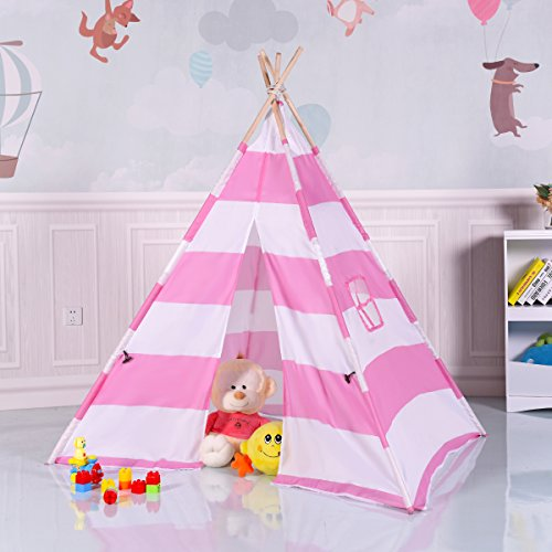 GYMAX Premium 160CM Kids Teepee Playing Tent, Children and Toddlers Canvas Indian Wigwam Playhouse for Indoor Outdoor, Pink & White Stripe