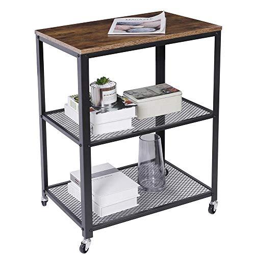 BAKAJI Carrello Cucina 3 Ripiani Multiuso con Ruote Removibili Scaffale Libreria Design Moderno Industriale Struttura in Metallo Piano d'Appoggio in Legno MDF Dimensione 60 x 40 x 77,5 cm