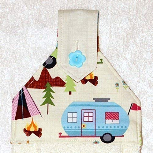 Hanging Hand Towel - Plush Ivory Towel With Scenic Camping And Trailers Print - RV Camping Decor