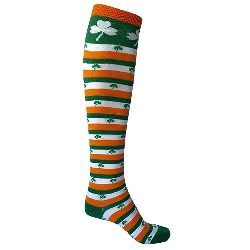 71a61f22dd SoRock Women's St. Patricks Day Irish Striped Knee Socks