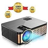 Mini Beamer Projektor, FLYLAND 5200 Lumen Tragbarer Mini Beamer mit Full HD 1080P Aufhängefunktion, für Heimkino Unterhaltung mit eingebautem HiFi Stereolautsprecher, LED 55000 Stunden