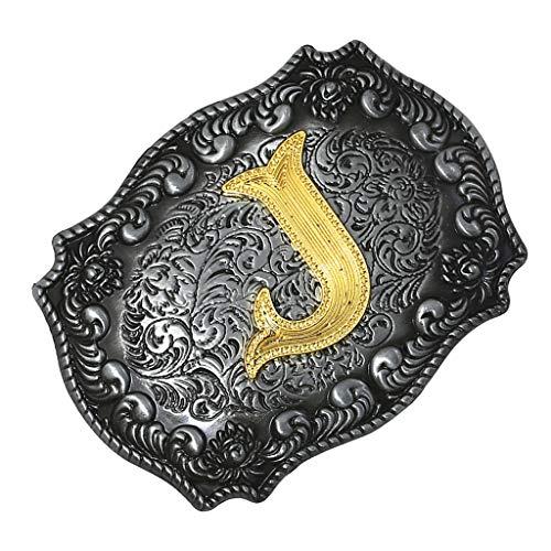Sharplace Western Cowboy Golden Letra Inicial A-z Hebilla De Cinturón De Metal Accesorio para Hombres - J, Individual