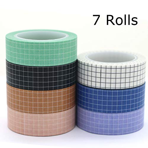 Washi Tape Set, YuBoBo Grid Washi Masking Decorative Tapes 33 Feet per Roll for DIY Decor Planners Scrapbooking Adhesive School/Party Supplies (7 Rolls)