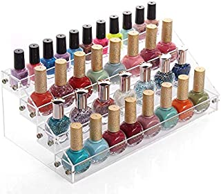 Sooyee Acrylic 4 Layer Nail Polish Rack Tabletop Display,Clear 4 Tier Shelves Organizer for Essential Oil, Cosmetic Dropper Bottle, Condiment,Fair Gifts Samples,Small toy Showing Stand,Pack of 1
