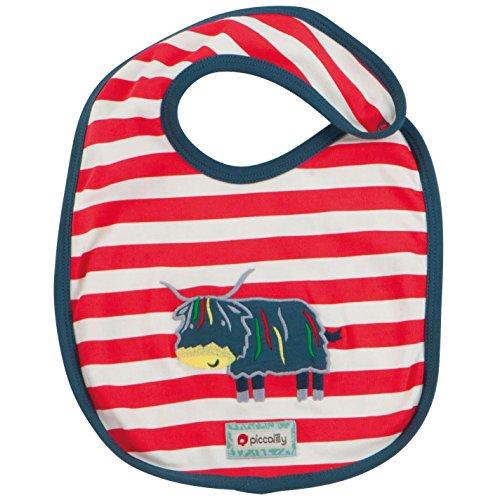 picca Lilly coton bio rouge & bleu bébé garçon Highland Vache Applique réversible Bib