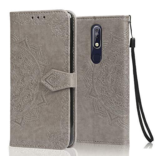 achoTREE Cover Nokia 7.1, Flip Caso in Premium TPU Portafoglio Custodia per Nokia 7.1, con Slot per Schede & Chiusura Magnetica - Gray