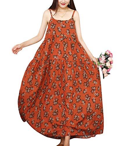 YESNO Women Casual Loose Bohemian Floral Print Dresses Spaghetti Strap Long Maxi Summer Beach Swing Dress 2XL E75 CR84