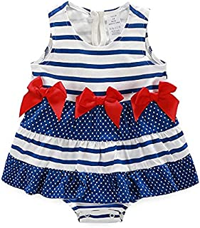 الصيف طفلة مخطط تنورة رومبير بذلة بلا أكمام (Color : Blue, Size : 66cm)