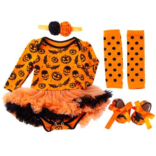 TMOYJPX Disfraces Niña Halloween Disfraz Mono Niño 0-24 Meses Invierno, Conjunto Ropa Bebe Niña, Mameluco de Falda+Banda de Pelo+Calcetines (3-6 meses, Calabaza~A)