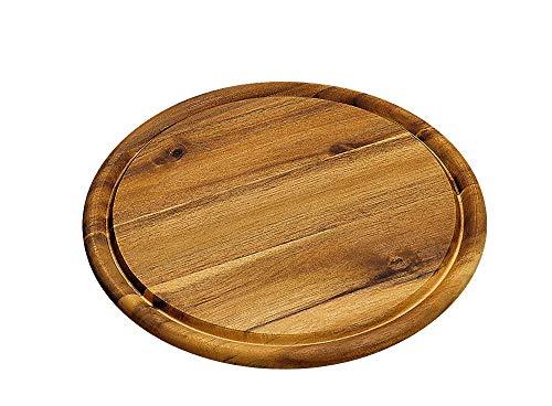 KESPER 28442 Fleischteller Ø 25 cm aus FSC®-zertifiziertem Akazienholz/Holzteller/Pizzateller/Schneidebrett