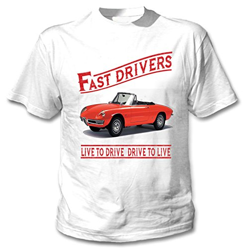 TEESANDENGINES Men\'s ALFA Romeo Spider Fast Drivers White T-Shirt Size XXXLarge
