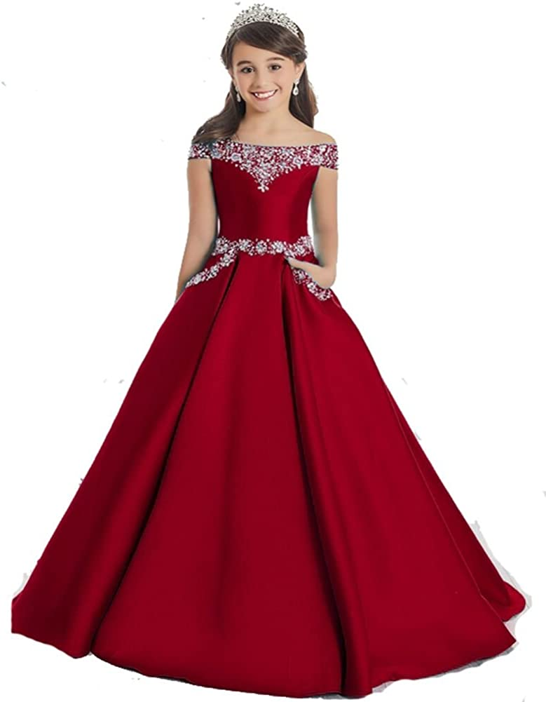 Girls Off The Shoulder A Line Pageant Dresses with Pockets Formal Dresses