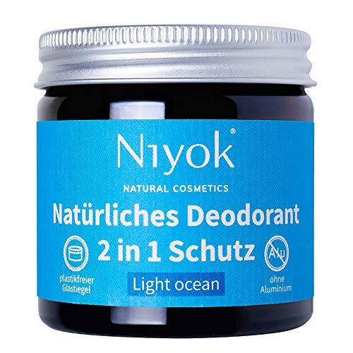 Niyok® 2 in 1 Deo ohne Aluminium Antitranspirant Deocreme Deodorant Creme | Damen | Herren gegen starkes Schwitzen aluminiumfrei - Light ocean – 40ml