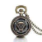 JewelryWe Joyas Collar Colgante Hombre/Mujer Estilo Antiguo, Colgante animación One Piece, Reloj de Bolsillo Cuarzo (con Bolsa de Regalo)