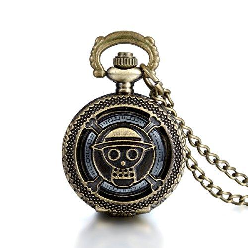 JewelryWe Steampunk Damen Herren Taschenuhr One Piece Anime Design auf Deckel Uhranhänger Quartzuhr Legierung Kettenuhr Uhr Halskette Kette 78cm Bronze Farbe