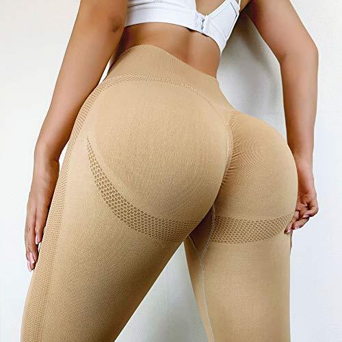 Unkoo Pantalones de Yoga sin Costuras de Cintura Alta Athletic Push Up Leggins Sexy Sport Women Sport Slim Fitness Running Gym Pants Squat Proof Energy Elastic Seamless Leggins Sport Girl Leggins
