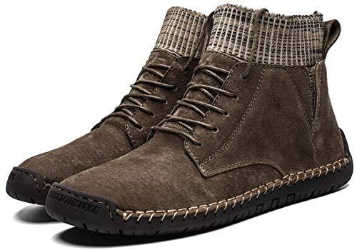 Zeaih Sneeuwlaarzen, mannen Winter Warm Leren Laarzen Ademend Lichtgewicht Comfortabele, Sneeuw Pluche Enkel Comfortabele Schoenen voor Outdoor Reizen