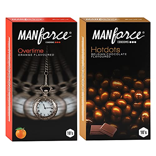 Manforce Premium Hotdots Belgian Chocolate with Bigger Dots & Overtime Orange 3in1 (Ribbed, Contour, Dotted) Condoms – 10s (Pack of 2)