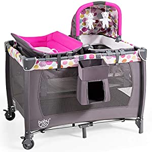 BABY JOY Nursery Center, 4-in-1 Portable Pack and Play w/Cradle & Diaper Changing Table, Bassinet Bed & Activity Center, Foldable Baby Playpen Crib with Toys & Music & Oxford Bag (Rose)