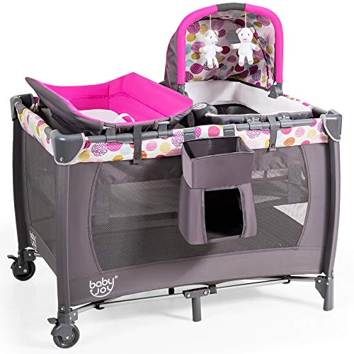 GYMAX 4-In-1 Baby Crib, Kids Folding Travel Cot with Changing Table, Portable Cradles, Toys & Music Boxes, Toddler Activity Play Center from Birth to 15kg (Rose)