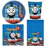amscan- Thomas & Friends Thomas The Tank Engine-Set da tavola per 8 Persone, Include Tazze/Piatti/tovaglioli/tovaglia, Multicolore, 1-Confezione, BPWFA-4179