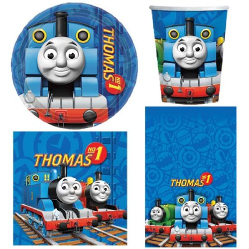 amscan BPWFA-4179 Thomas & Friends Thomas The Tank Engine Party Tableware Pack for 8 People Includes Cups/Plates/Napkins/Table Cover