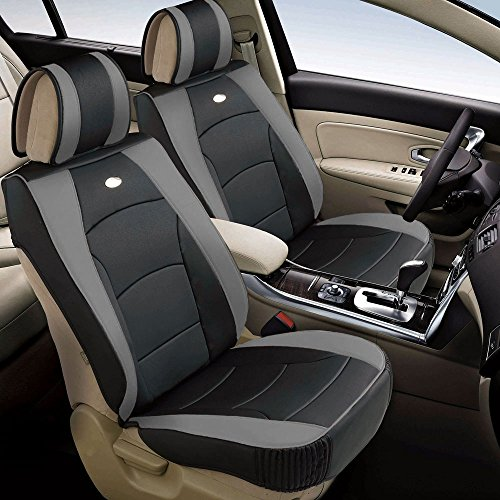 FH Group PU205102 Ultra Comfort Highest Grade Faux Leather Seat Cushions (Gray) Front Set – Universal Fit for Cars Trucks & SUVs