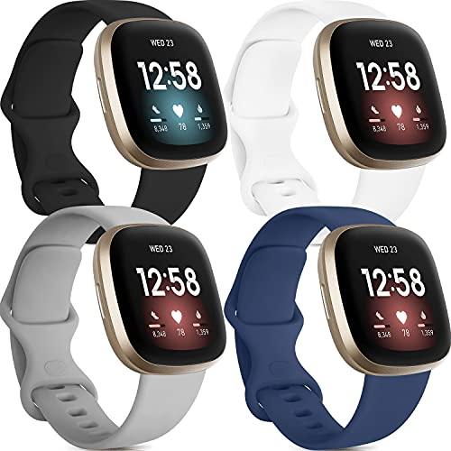 4 Pack Silicone Bands Compatible with Fitbit Versa 3 Bands and Fitbit Sense Bands, Classic Soft Sport Bands Replacement Wristbands for Fitbit Sense/Versa 3 Smart Watch Women Men