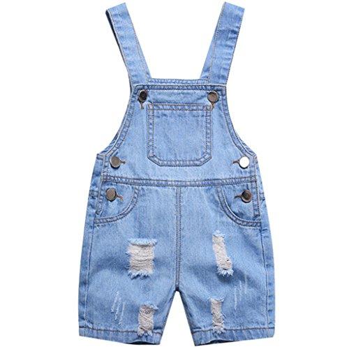 Bebé Peto con Pernera Corta - Pantalones de Peto Vaqueros Niños Niñas Overalls Pantalón Ajustable 3-4 Años