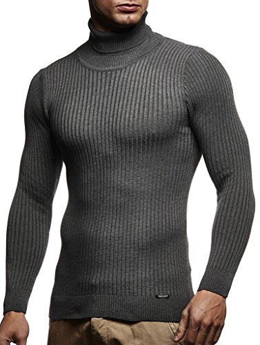 Leif Nelson Men's Turtleneck Sweater Slim Fit | Men's Polo Neck Longsleeve | Turtleneck Sweater Long Sleeve for Men